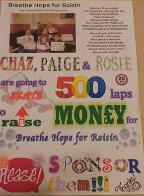 Sponsored Skate for Breathe Hope for Roisin
